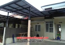Hasil Pemasangan Kanopi Baja Ringan Murah Atap Alderon di Perum Kristal Garden, Cibinong, Citereup, Bogor
