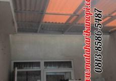 Hasil Pemasangan Kanopi Baja Ringan Atap Alderon RS mix Solartuff di Perum Bukit Golf, Blok EE9 No.5, Cibubur, Jakarta Timur