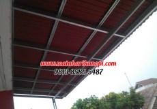 Hasil Pemasangan Kanopi Baja Ringan Atap Go Green Merah Paket Standar di Perum Limus Pratama, Cileungsi, Bogor