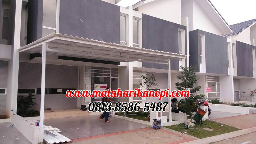 Kanopi-Baja-Ringan-Atap-Alderon-di-Cibubur-1-OK Hasil Pemasangan Kanopi Baja Ringan Atap Alderon Sunpanel Super Elegan Plus Cat Putih di Cibubur Jakarta Timur