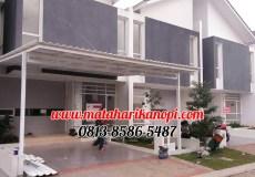 Hasil Pemasangan Kanopi Baja Ringan Atap Alderon Sunpanel Super Elegan Plus Cat Putih di Cibubur Jakarta Timur