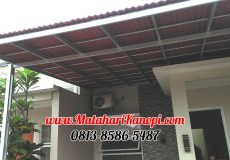 Hasil Pemasangan Kanopi Baja Ringan Atap Go Green Merah Standar di Hans Residence, Jl. Paraji, Cilodong, Depok