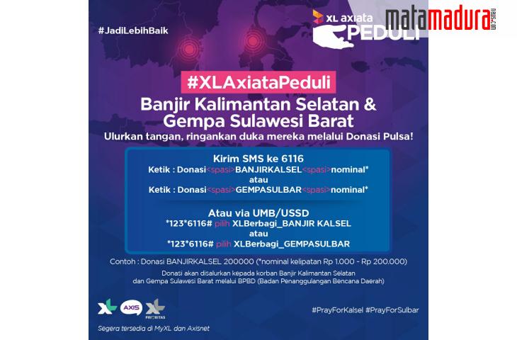 XL Axiata Buka SMS Donasi untuk Korban Gempa Bumi Sulawesi Barat