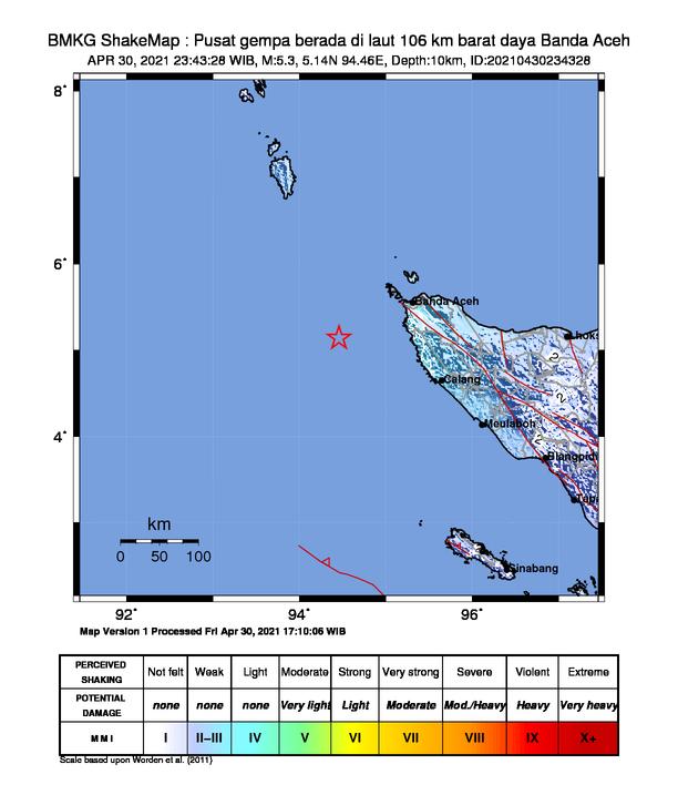 Gempa M 5,3 di Banda Aceh Tak Berpotensi Tsunami