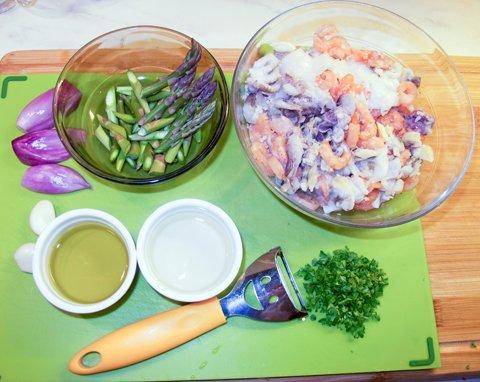 Asparges med sjømat