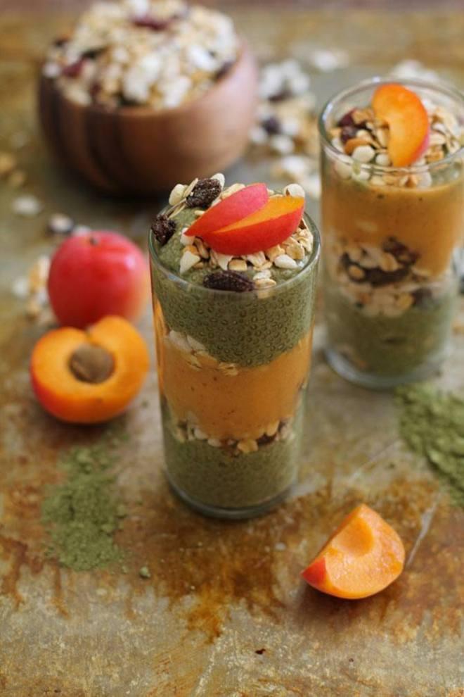 Matcha Chia Seed Pudding Apricot Smoothie Parfait