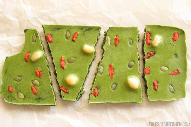Matcha Chocolate With Macadamia Nuts, Goji Berries And Pepitas