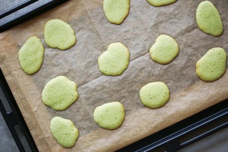 baked matcha cat's tongue cookies
