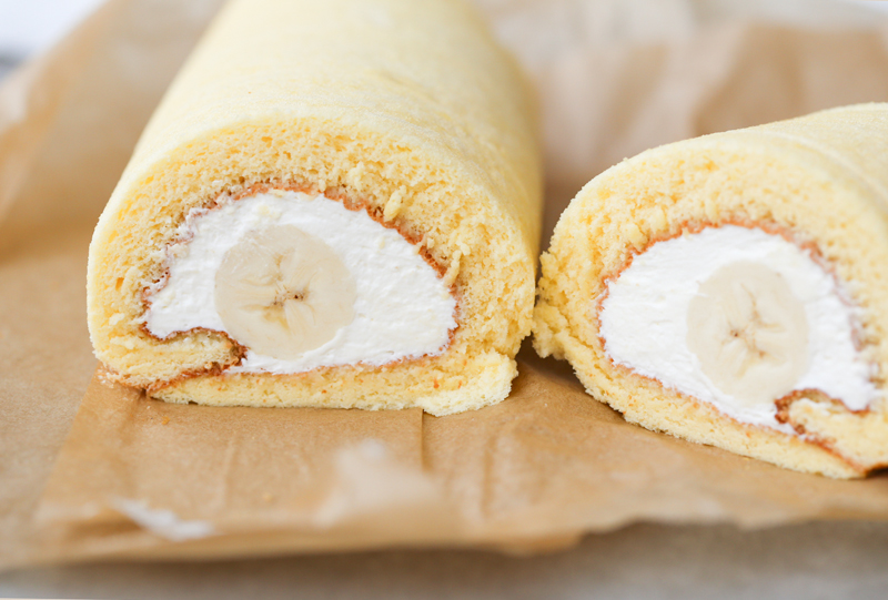 Japanese banana swiss roll cake recipe