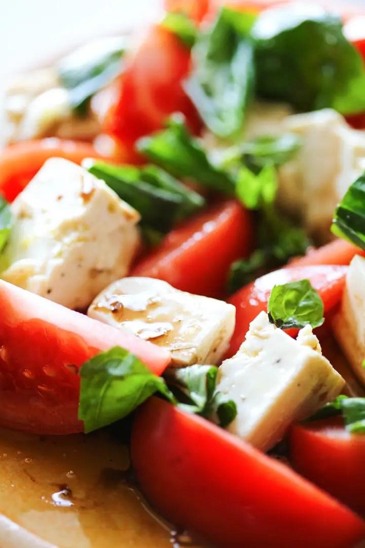 vegan tofu caprese salad