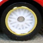 Matchbox Wheels : 10 Spoke Rubber White - Gold rim