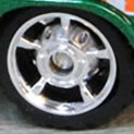 Matchbox Wheels : 5 Spoke Centre Hub Rubber - Bright Chrome