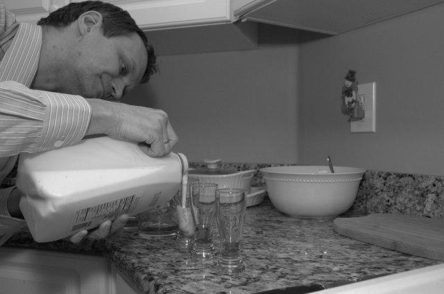 Preparing the eggnog