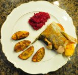 Trout with potatoes and Orawian-style beets