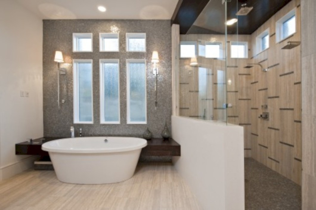 Amazing doorless shower design ideas 23
