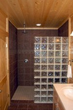 Amazing glass brick shower division design ideas 19