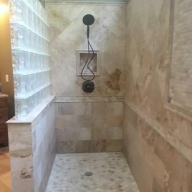 Amazing glass brick shower division design ideas 23