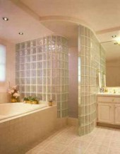 Amazing glass brick shower division design ideas 29