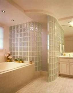 Amazing glass brick shower division design ideas 29