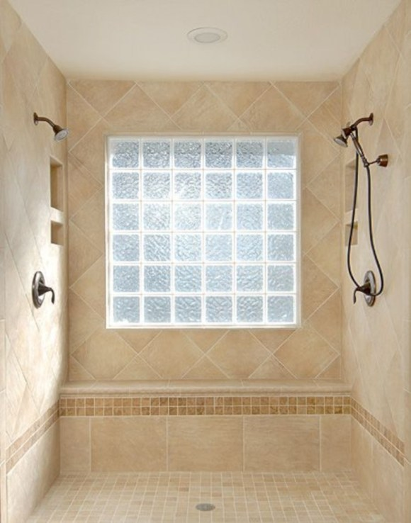 Amazing glass brick shower division design ideas 31