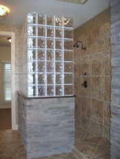 Amazing glass brick shower division design ideas 37
