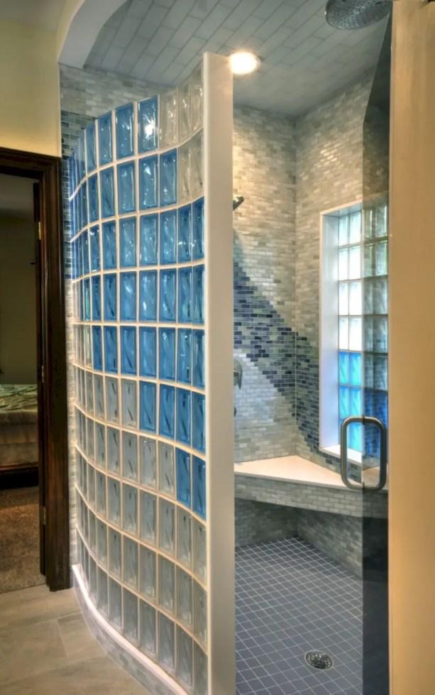 Amazing glass brick shower division design ideas 38