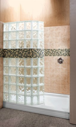 Amazing glass brick shower division design ideas 40