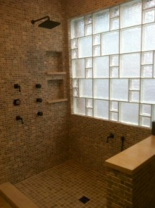 Amazing glass brick shower division design ideas 41
