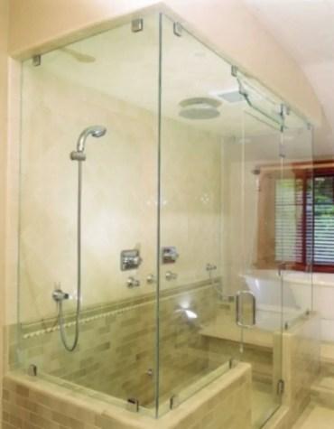 Beautiful bathroom frameless shower glass enclosure 06