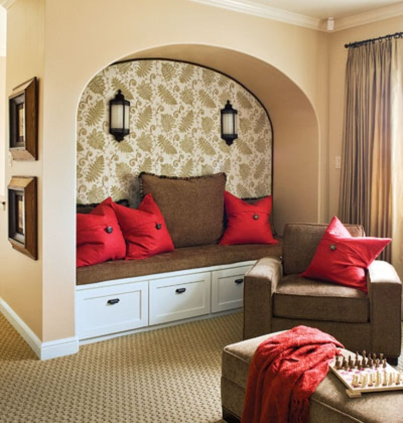 Built-in bench for your basement design ideas 05