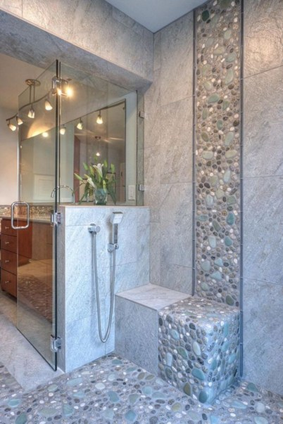 Creative bathroom with soft stone floor to massage your feet 23