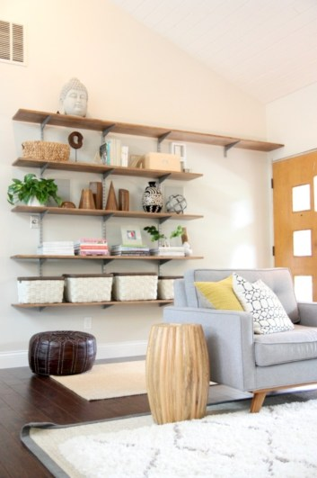 Diy wall shelves ideas for living room decoration 16