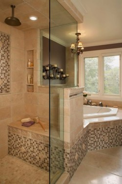 Half wall shower for your small bathroom design ideas 07