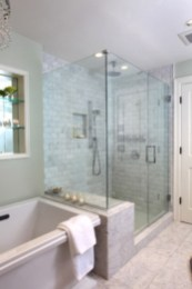 Half wall shower for your small bathroom design ideas 21