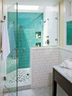 Half wall shower for your small bathroom design ideas 25
