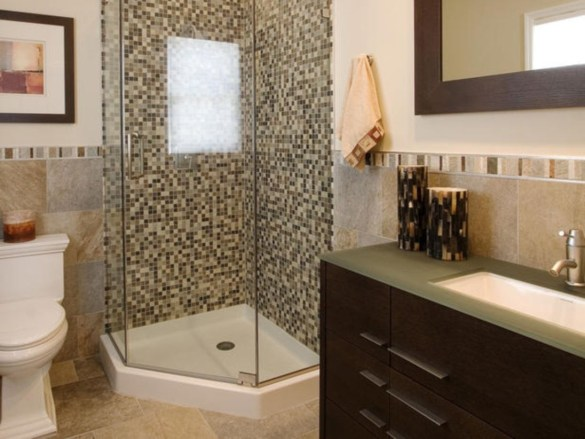 Half wall shower for your small bathroom design ideas 30