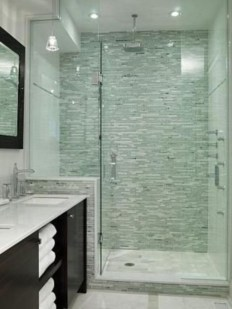 Half wall shower for your small bathroom design ideas 35