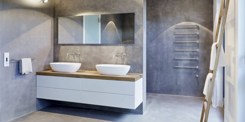 Nice and minimalist bathroom with the glass wall with a concrete 28