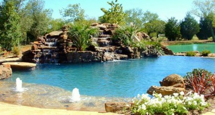 Pool waterfalls ideas for your outdoor space 19