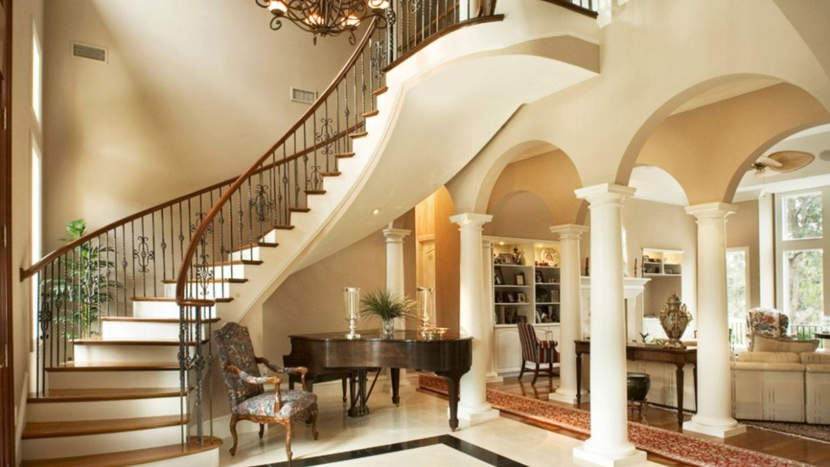 45 Ways to Decorate with Chandelier Over the Stairs