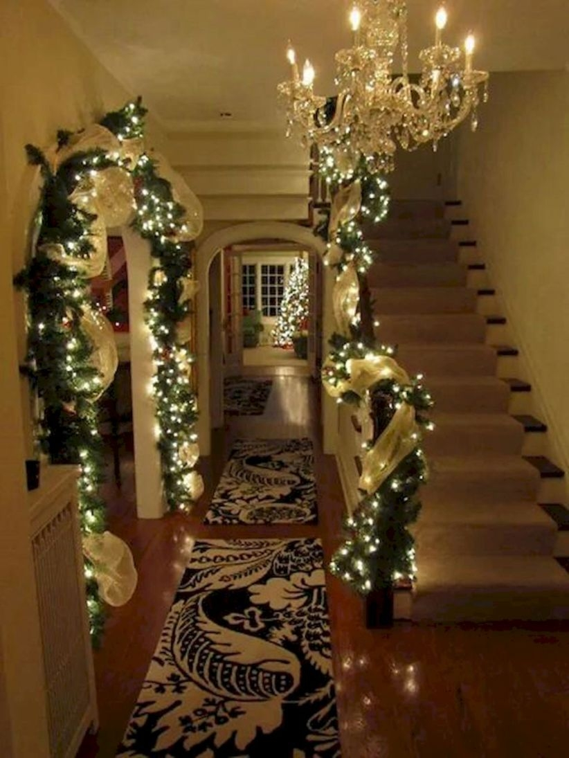 Ways to decorate with chandelier over the stairs 07