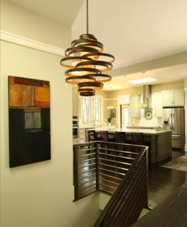 Ways to decorate with chandelier over the stairs 12