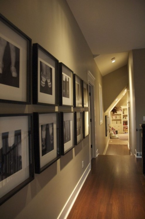 White wall and picture frames in hallway decorating ideas 01