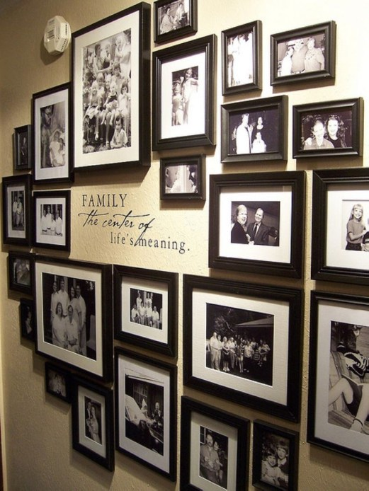 White wall and picture frames in hallway decorating ideas 16