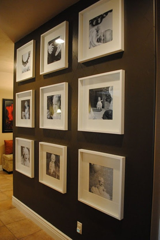 White wall and picture frames in hallway decorating ideas 29