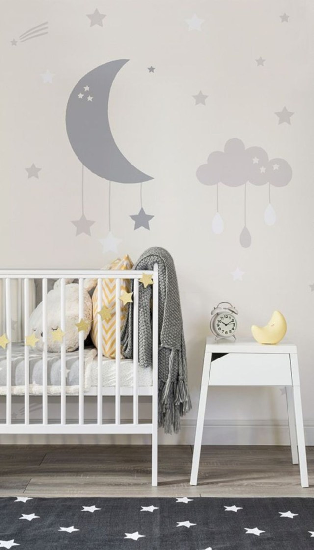 Baby clouds and moon wall mural
