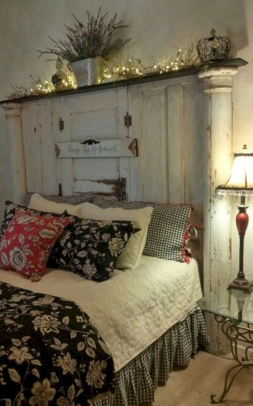 Bedroom with old doors headboard