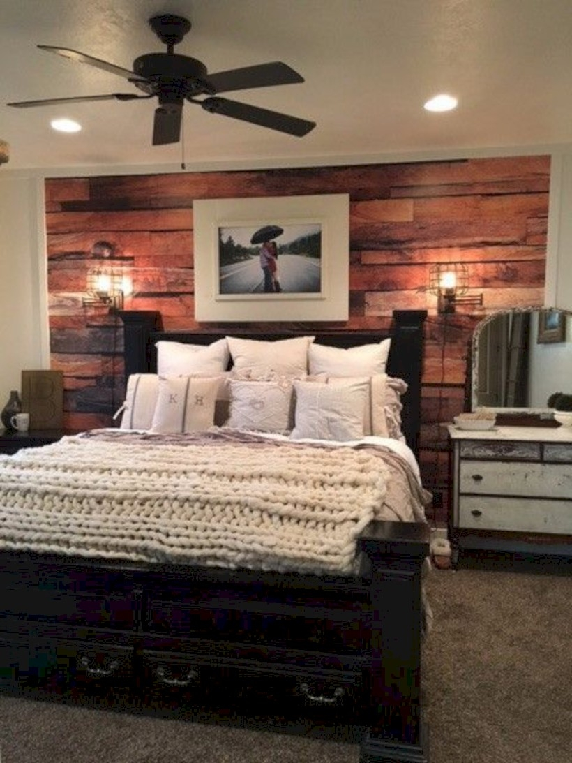 Bedroom with reclaimed rustic wood wall mural wallpaper