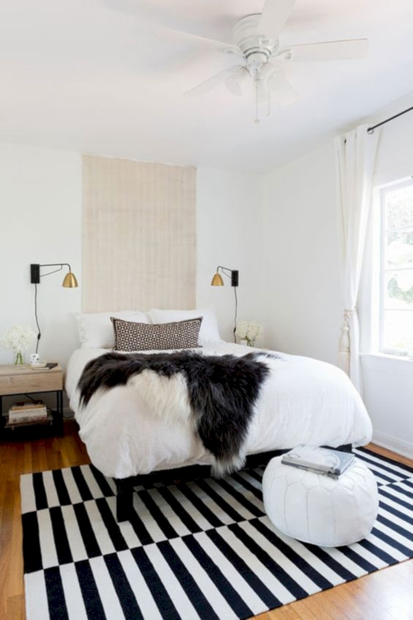 Bedroom with stripped carpet
