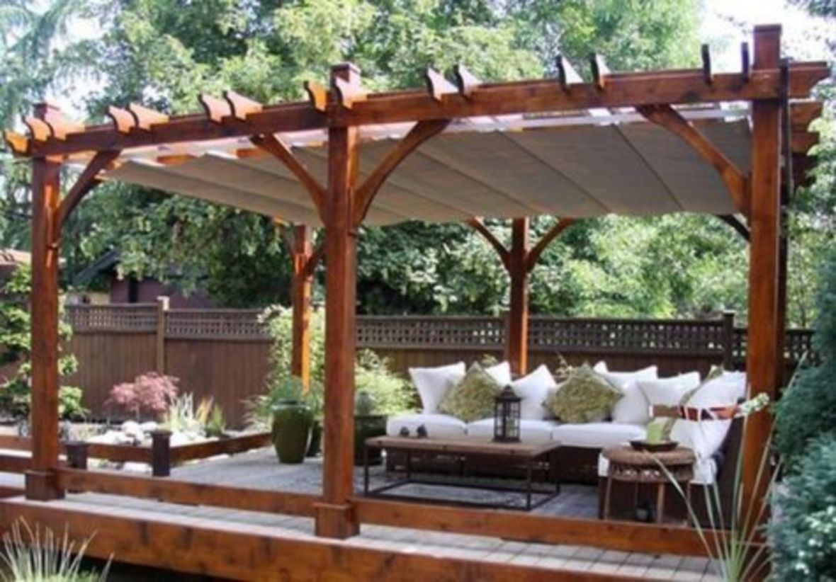 Breeze pergola with retractable canopy for outdoor living